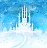 Christmas winter castle  on the hill Stock Images