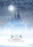 Christmas Winter Castle Moonlight Sky Stock Photography
