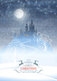 Christmas Winter Castle Moonlight Sky Stock Photography