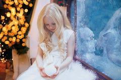 Christmas, winter, celebration concept - little girl Royalty Free Stock Photo