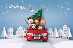 Christmas and winter with children. vector illustration