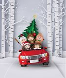Christmas and winter with children on red car. royalty free illustration