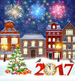 Christmas winter city street. Happy new year and merry Christmas winter old town street with christmas tree. fireworks in the sky. concept for greeting, postal Royalty Free Stock Photography