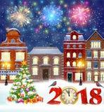 Christmas winter city street Stock Photography
