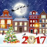 Christmas winter city street. Happy new year and merry Christmas winter old town street with christmas tree. Santa Claus with deers in sky above the city Stock Photo