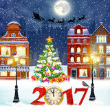 Christmas winter city street. Happy new year and merry Christmas winter old town street with christmas tree. Santa Claus with deers in sky above the city Royalty Free Stock Image