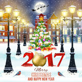 Christmas winter city street. Happy new year and merry Christmas winter old town street with christmas tree. Santa Claus with deers in sky above the city Royalty Free Stock Photography
