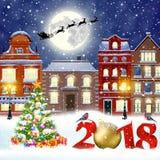 Christmas winter city street Royalty Free Stock Photos