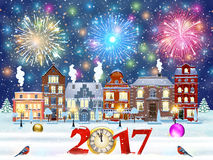Christmas winter city street. Happy new year and merry Christmas winter old town street with trees. Christmas card with cityscape and fireworks. concept for Stock Photography
