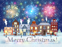 Christmas winter city street Royalty Free Stock Photo