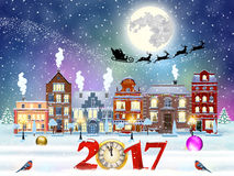 Christmas winter city street. Happy new year and merry Christmas winter old town street with trees. Santa Claus with deers in sky above the city. concept for Stock Photography