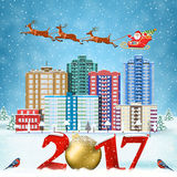 Christmas winter city street. Happy new year and merry Christmas winter city street with trees. Santa Claus with deers in sky above the city. concept for Royalty Free Stock Photo