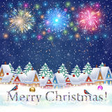 Christmas winter city street. Happy new year and merry Christmas winter village with trees. fireworks in the sky. concept for greeting and postal card Stock Photo