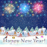 Christmas winter city street. Happy new year and merry Christmas winter village with trees. fireworks in the sky. concept for greeting and postal card Royalty Free Stock Image