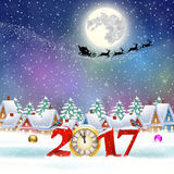Christmas winter city street. Happy new year and merry Christmas winter village with trees. Santa Claus with deers in sky above the city. concept for greeting Royalty Free Stock Images