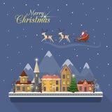 Christmas winter city street with Santa Stock Photography