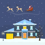 Christmas winter city street with Santa Royalty Free Stock Photos