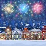 Christmas Winter Cityscape. Happy new year and merry Christmas Winter Cityscape , fireworks in the sky. vector illustration Stock Images