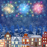 Christmas Winter Cityscape. Happy new year and merry Christmas Winter Cityscape , fireworks in the sky. vector illustration Stock Photography