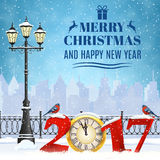 Christmas Winter Cityscape. Happy new year and merry Christmas Winter Cityscape with luminous street lantern, snow flakes. concept for greeting and postal card Royalty Free Stock Images