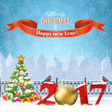 Christmas Winter Cityscape. Happy new year and merry Christmas Winter Cityscape with christmas tree, snow flakes. concept for greeting and postal card Stock Photo