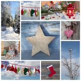 Christmas winter collage in blue and red, country style Royalty Free Stock Image