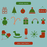 Christmas and winter collection of icons. Royalty Free Stock Photos