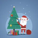 Christmas winter concept, Cute Santa claus`s decorating a christ. Mas tree, Vector illustration Stock Photos