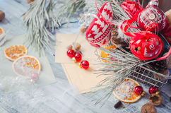 Christmas winter decoration on rustic white wooden background wi Royalty Free Stock Images