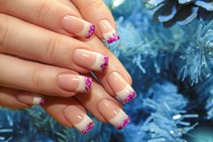 Christmas winter design French manicure . royalty free stock photography