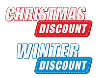 Christmas and winter discount in two colors labels, flat design Stock Photo