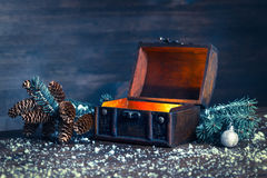 Christmas winter fairy with miracle in opened chest. Background Stock Photos