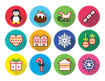 Christmas, winter flat design icons - penguin, Christmas pudding Stock Images