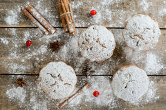 Christmas winter food composition: cakes in icing sugar with cranberry and cinnamon stock photo