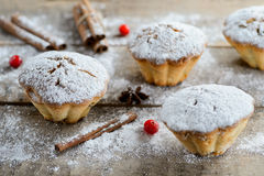 Christmas winter food composition: cakes in icing sugar with cranberry and cinnamon. On a wooden table royalty free stock image