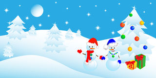 Christmas in the winter forest Royalty Free Stock Photos