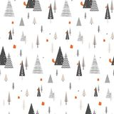Christmas winter forest landscape with forest animals . seamless pattern   Stock Images