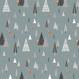 Christmas winter forest landscape with forest animals . seamless pattern   Stock Photos