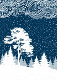 Christmas Winter Forest Landscape. With Pine and Firs Trees White Silhouettes, Snow and Abstract Pattern. Vector Royalty Free Stock Photos