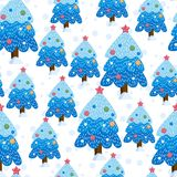 Christmas winter forest landscape. seamless pattern and background. Cute Vector illustration royalty free illustration