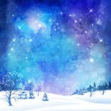 Christmas Winter Forest. Christmas night vector watercolor background with winter forest, subtle grunge texture and stars Stock Photos