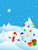 Christmas in the winter forest, postcard Royalty Free Stock Image