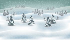 Christmas winter forest snowing landscape background. Vector illustration royalty free stock photo