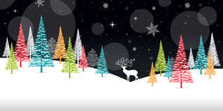 Christmas Winter Frame - Illustration. Christmas Card Black Nature - No Text Landscape. Royalty Free Stock Images