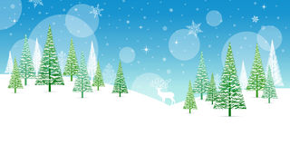Christmas Winter Frame - Illustration. Christmas Card Nature - No text Landscape. Stock Photos