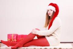 Happy woman make christmas presents royalty free stock photo