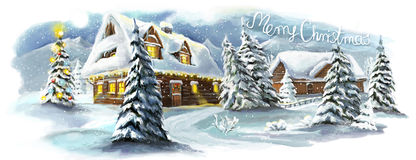 Christmas winter happy scene Royalty Free Stock Photos