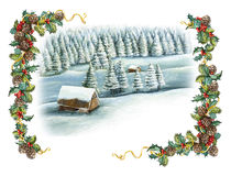 Christmas winter happy scene Royalty Free Stock Image