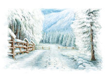 Christmas winter happy scene with footsteps. Happy and funny traditional illustration for children - scene for different usage Royalty Free Stock Photo