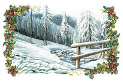 Christmas winter happy scene with frame Royalty Free Stock Images